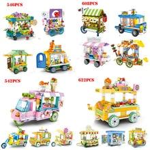 цена на Street View Ice Cream Truck Food Store Friends Building Blocks Toys Compatible Legoed City Creator Bricks Gift Toys For Children