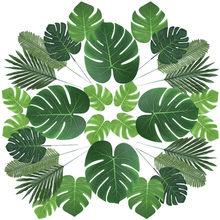 31 Kinds Tropical Leaf Artificial Tropical Palm Leaves Luau Decorations Fake Plants Hawaiian Luau Birthday Party Home Decoration