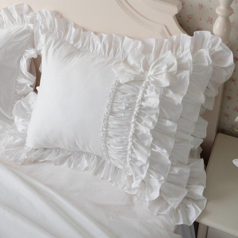 Luxury Cake Layers Ruffle Pillowcase White Europe Handmade Wrinkle Elegant Pillow Case Pillow Cover Bownot Design Sweet Princess