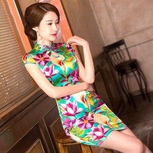 Image 1 - Mùa Hè Năm 2019 Trung Quốc Mới Sườn Xám Váy In Hình Nguyên Chất Lụa Qipao Đầm Cổ Tròn Tu Dưỡng Đạo Đức Hãng Sản Xuất Bán Buôn