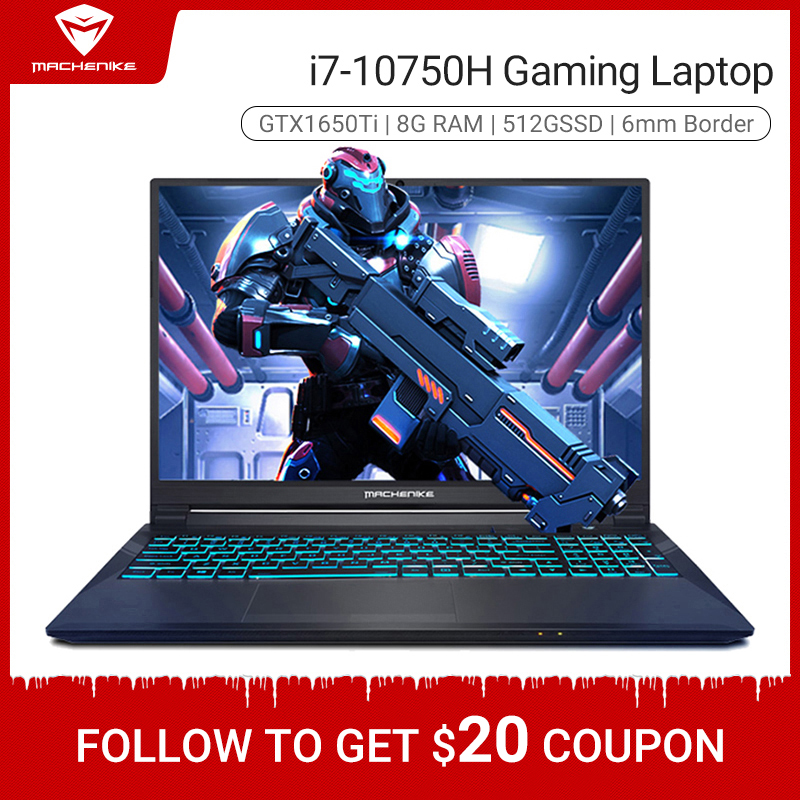Machenike T58-VB i7 Gaming Laptop 2020 i7 10750H GTX 1650Ti 8GB RAM 512G SSD 15 6   Ultra border i7 notebook Metal A shell