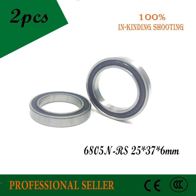2pcs 6805N 6805N-RS SI3N4 hybrid ceramic bearing <font><b>25x37x6</b></font> 6805N 25376 bike wheel bottom bracket bearing image