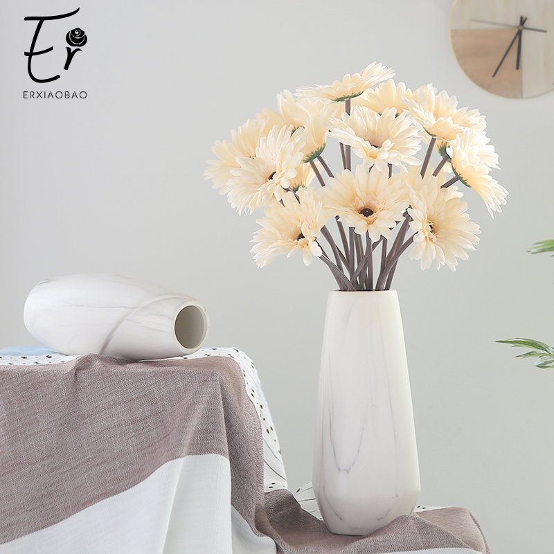 Erxiaobao 10 Pieces/Lot Barberton Daisy Gerbera Jamesonii Bolus African Chrysanthemum Artificial Flowers