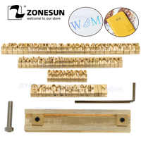 ZONESUN T slot 52 Brass Alphabet Letters Stamp 10 Numbers 20 Symbol Leather Stamping Craving Tool Branding Iron Machine Mold
