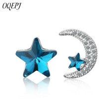 OQEPJ Cute Romantic Rhinestone Moon Blue Star Earrings 925 Sterling Silver Wedding Korean Asymmetrical Women Jewelry