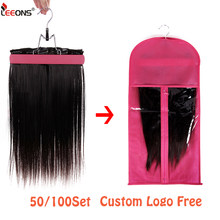 Leeons Logo Custom Free Wig Storage Bag With Hanger 50/100Set Dust Proof Protective Wig Storage Bag With Wig Hanger Custom Logo(China)