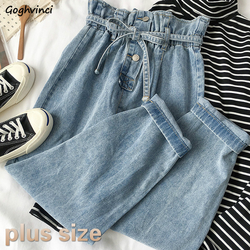 Jeans Women Plus Size High Waist Button Ankle-Length Loose Straight Korean Style BF Ulzzang Autumn Trousers Womens Daily Leisure