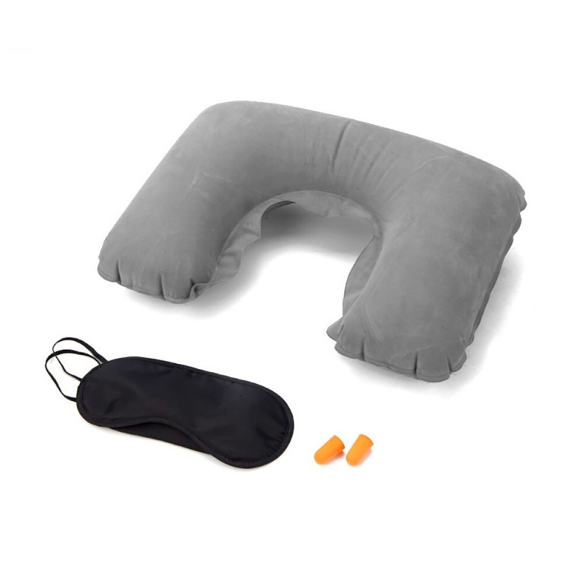 Travel Pillow Inflatable Neck Pillows With Sleeping Eye Mask Earplugs U Shaped Business Trip Travel Neck Pillow Head Cushion