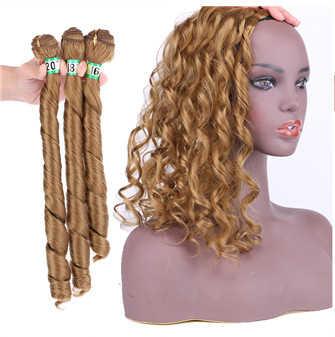 Natifah Haar Bundels Natuurlijke Golf 161820 Inch Haar Weave 70 G/stks Synthetisch Haar Uitbreiding 613Blond Zwart Grijs Voor Zwart vrouw