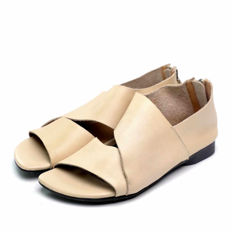 Women Leather Sandals Black Casual Summer Shoes Women Peep Toe Lazy Sandal Low Heel Handmade Genuine Leather Women Sandals Beige