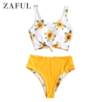 ZAFUL Sunflower Knot Reversible High Waisted Tankini Swimsuit Women Scoop Neck Crop Top Swimwear Summer Fashion Bathing Suits knot back plaid crop top