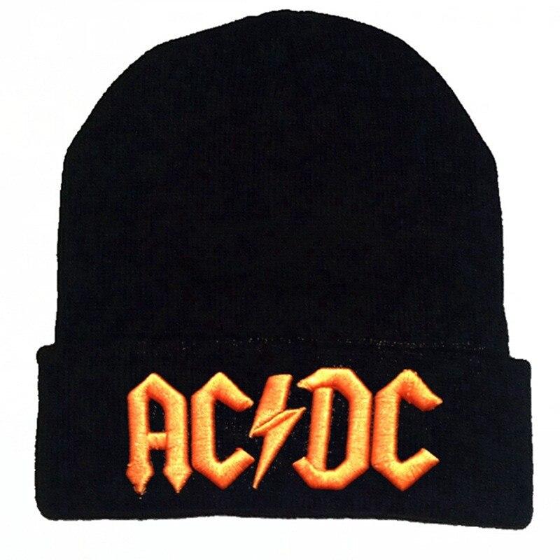 Winter Women Casual Acrylic Knitting Skullies Beanie Cap Men AC DC Thunder Letter Embroidery Ski Warm Hat Hip Hop
