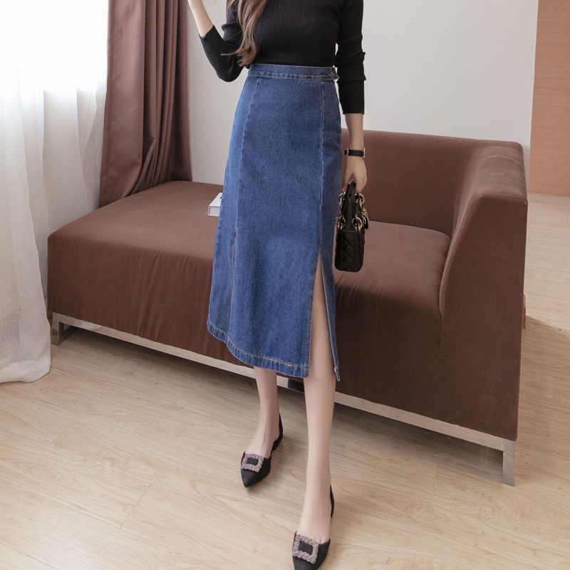 Джинсовая юбка с высокой талией, облегающая юбка миди для женщин, лето 2019, Новое поступление, синяя джинсовая юбка с разрезом сбоку, стиль Saia, джинсы