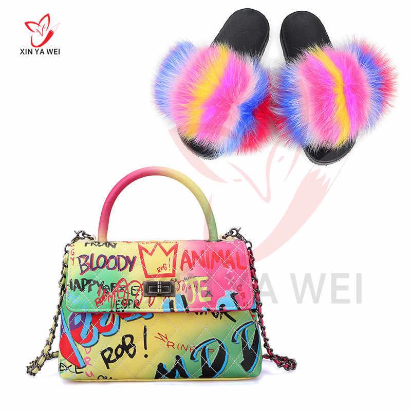 חדש אמיתי שועל פרווה נעלי התאמה צבע תיק שקופיות צבע שרבוט יהלומי סריג חבילה אחת כתף סיישל נשים תיק