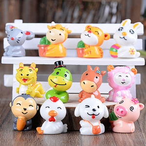 Mini Cartoon Resin Miniature Animal Figurine Toys Chinese Zodiac Dolls Baby  Dollhouse Fairy Garden Decoracion Cute 12Style Furniture Toys  - AliExpress