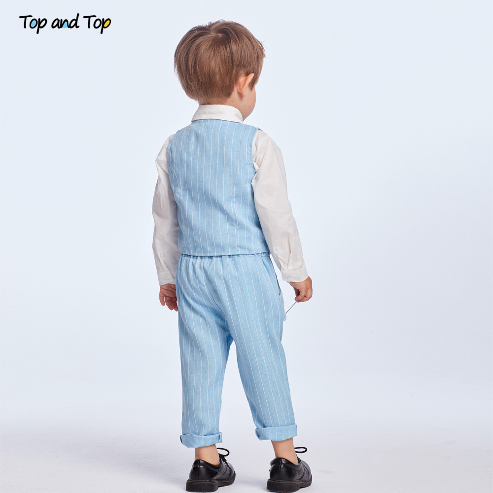 Top and Top Spring&Autumn Baby Boy Gentleman Suit White Shirt with Bow Tie+Striped Vest+Trousers 3Pcs Formal Kids Clothes Set 6