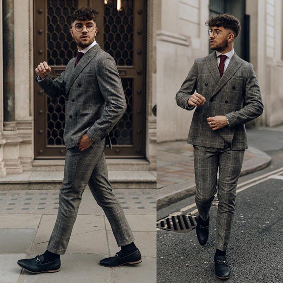 Grey Mens Suits 2 Piece Peaky Blinder Classic Tweed Slim Fit Costume Vintage Suit Jacket Pants Custom Made Wedding Tuxedos
