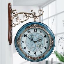 European Vintage Wall Clock Art Silent Blue Creative Double Sided Glass Quartz Wall Clock Round Living Room House Decor