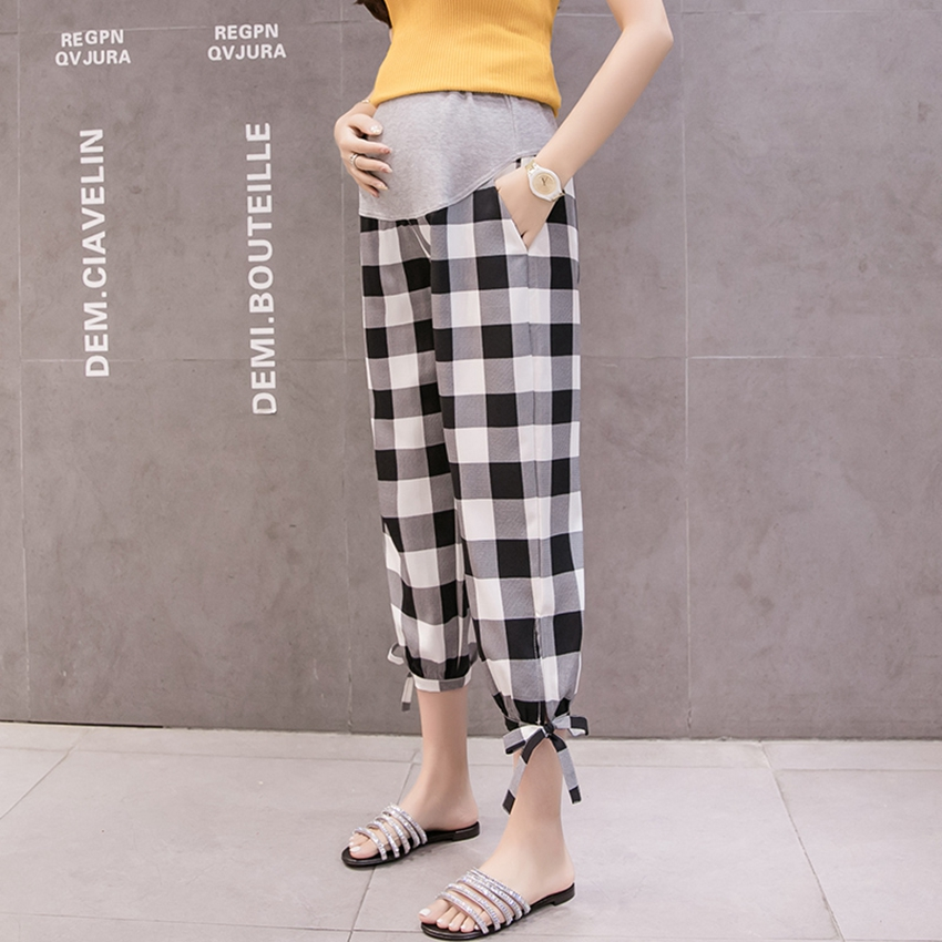 Pregnant Women's Casual Pants Spring and Summer  Nine-point Pants Season Thin Casual Loose Fashion Plaid Tide Mom Pants