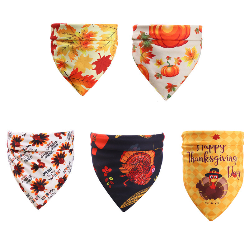 50pcs Thanksgiving Pet Supplies Dog Bandanas Large Pet Accessories Cotton Pet Dog Scarf  Dog Neckties Fall Pet Products for Dogs