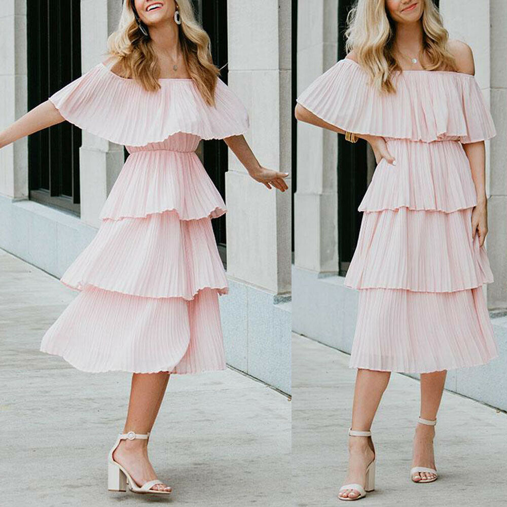 New Boho Women's Summer Beach Ruffle Long Dress Holiday Fashion Ladies Casual Layered Off Shoulder Sun Dresses