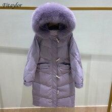 Snow-Outwear Parkas Overcoat Hooded Fitaylor Duck-Down Puffer Real-Fox-Fur Long Winter Women