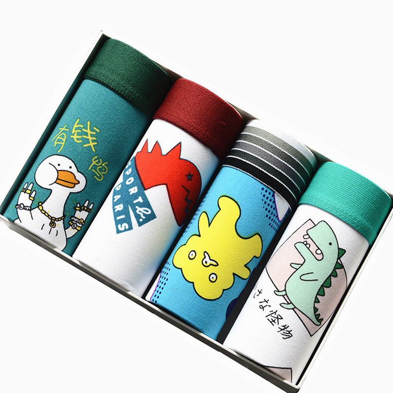4pcs/lot Male Underwear Lovely Cartoon Funny Underpants Man Ice Silk Boxers Men Boxer Shorts Breathable Smooth Family Panties