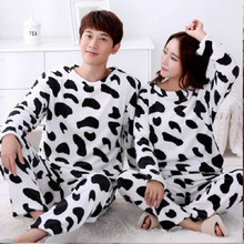 Couple Pajamas Home Clothes Winter Unisex with Hooded Thicken Warm Cow-Print Round-Neck