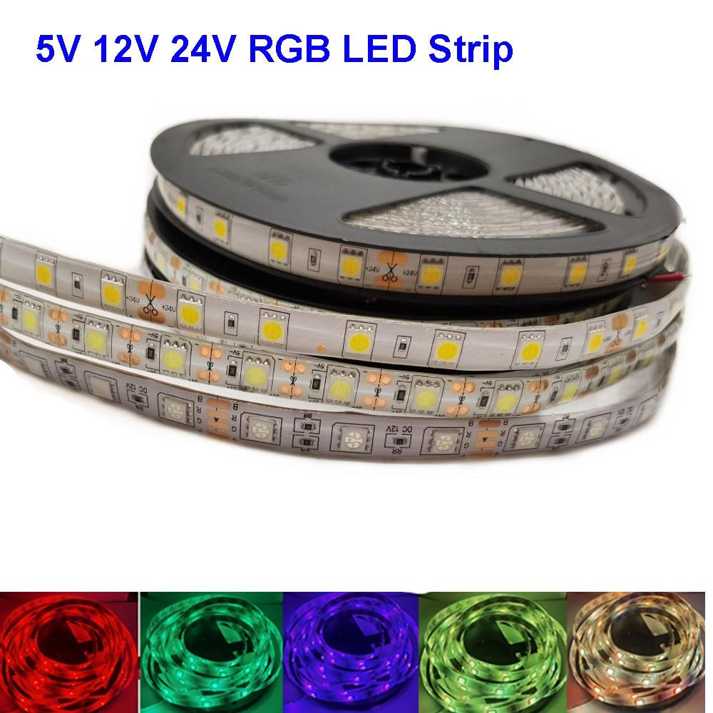 Светодиодная Водонепроницаемая RGB лента, 5 В, 12 В, 24 В, 5050, 5 м