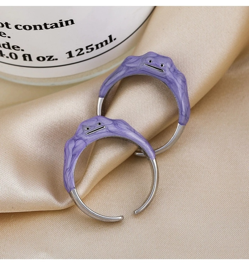 2021 Pocket Monsters Funny Monster Open Rings Dripping Oil Purple Cute Women's Ring Design Smile Fashion Ring Wholesale Jewelry