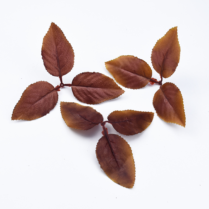 20/50 Pcs Brown Leaves Silk Roses Leaf Home Decoration Accessories Decorative Flowers Wedding Bridal Brooch Artificial Plants