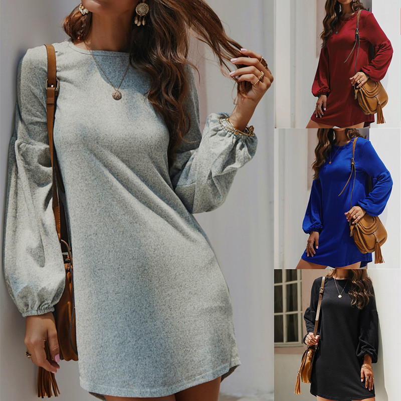 Women Winter Elegant <font><b>Dress</b></font> Winter Cotton Warm Fashion Casual Printing Sweatshirt Long Sleeve <font><b>Dress</b></font> image