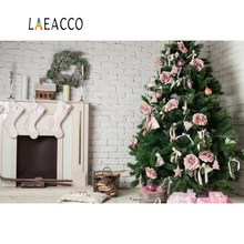 Laeacco Photographic Backgrounds Gray Brick Wall Fireplace Christmas Tree Gift Candle Decor Photocall Backdrops For Photo Studio