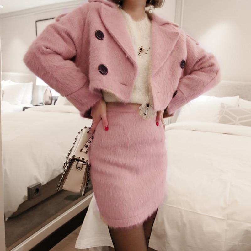2019 woolen women's autumn and winter new fashion suit collar jacket + slim bag hip skirt two-piece suit