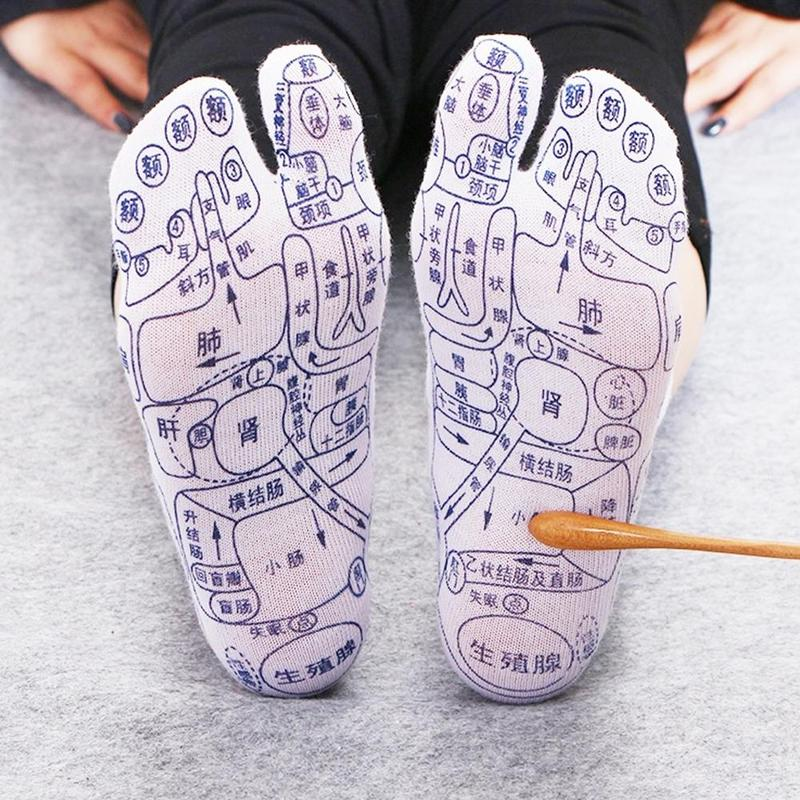 Горячая Распродажа носки для акупрессуры, педикюрные носки с отверстиями для ног, фигурка новичка, Подошвенный акупунктурный массаж, масса...