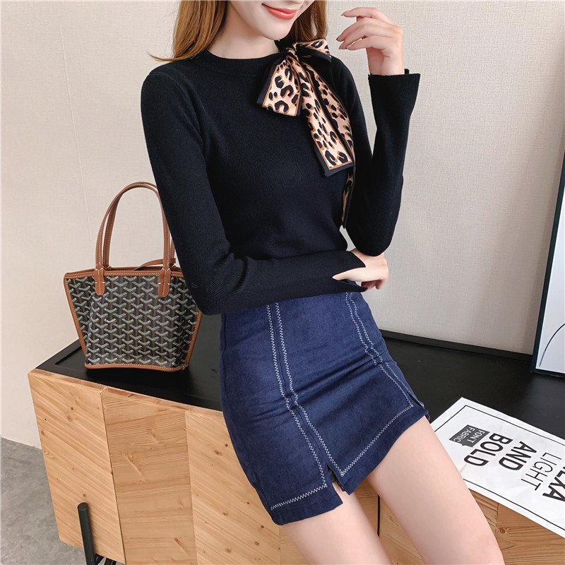 Women Knit Sweater Pullover Autumn Winter Clothes New Leopard Bow Tie Slim Pull Knitwear Sweater Jumper Long Sleeve Female Tops 9