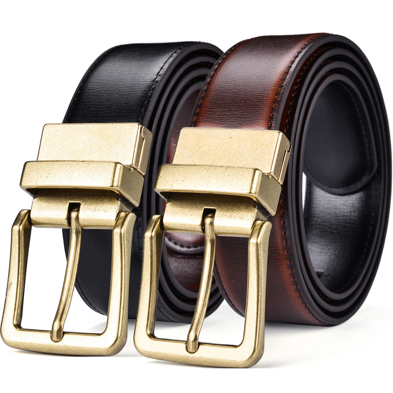 Men's Belt, Leather Reversible Belt For Men Black And Cognac Dress Belt Rotate Buckle Two In One