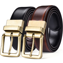 Mens Belt, Leather Reversible Belt for Men Black and Cognac Dress Belt Rotate Buckle Two In One