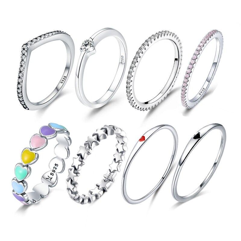 WOSTU Genuine 925 Sterling Silver Hot Sale Star Heart Shape Rainbow Finger Rings Women European Wedding Fine Jewelry Gift