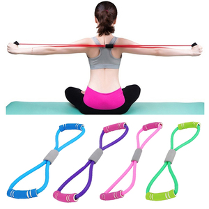 Natural Rubber Latex 8 Word Chest Expander Rope Workout Muscle Elastic Bands Clean Sports Exercise Sport Yoga Fitness Resistance