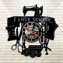 Sewing-Machine Vinyl Record Decor Wall-Clock Gift Modern-Design Love Seamstress