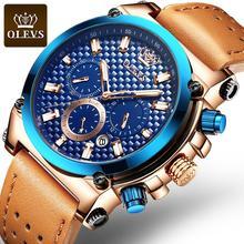 Mens Sport Watch Top Brand Luxury Waterproof Genuine Leather Big Military Quartz Chronograph Watch Army Relogio Masculino
