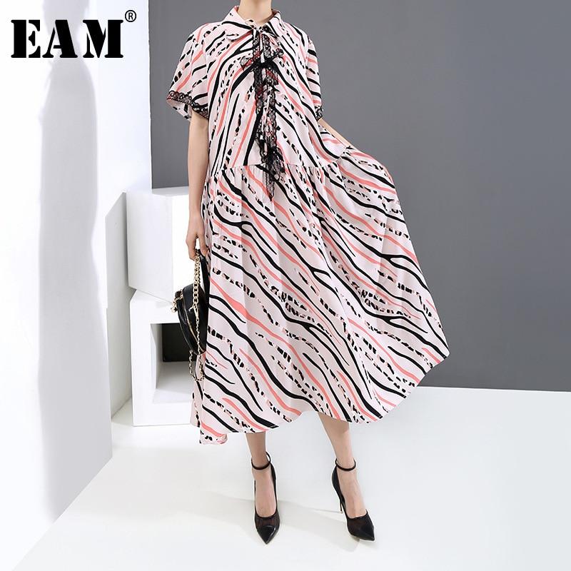 [EAM] Women Striped Pattern Printed Big Size Long Dress New Lapel Half Sleeve Loose Fit Fashion Tide Spring Summer 2020 1U124
