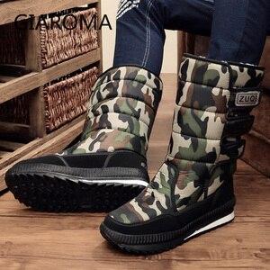 Image 5 - 2019 buty męskie antypoślizgowe średnio wysokie buty z cholewami męskie zimowe buty na śnieg wodoodporny hak pętli projekt platformy buty Bota Masculino rozmiar 47