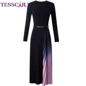 Image 5 - TESSCARA suéter elegante para mujer, vestido de otoño e invierno, de diseñador, para cóctel, plisado, largo, de alta calidad, para oficina y fiesta