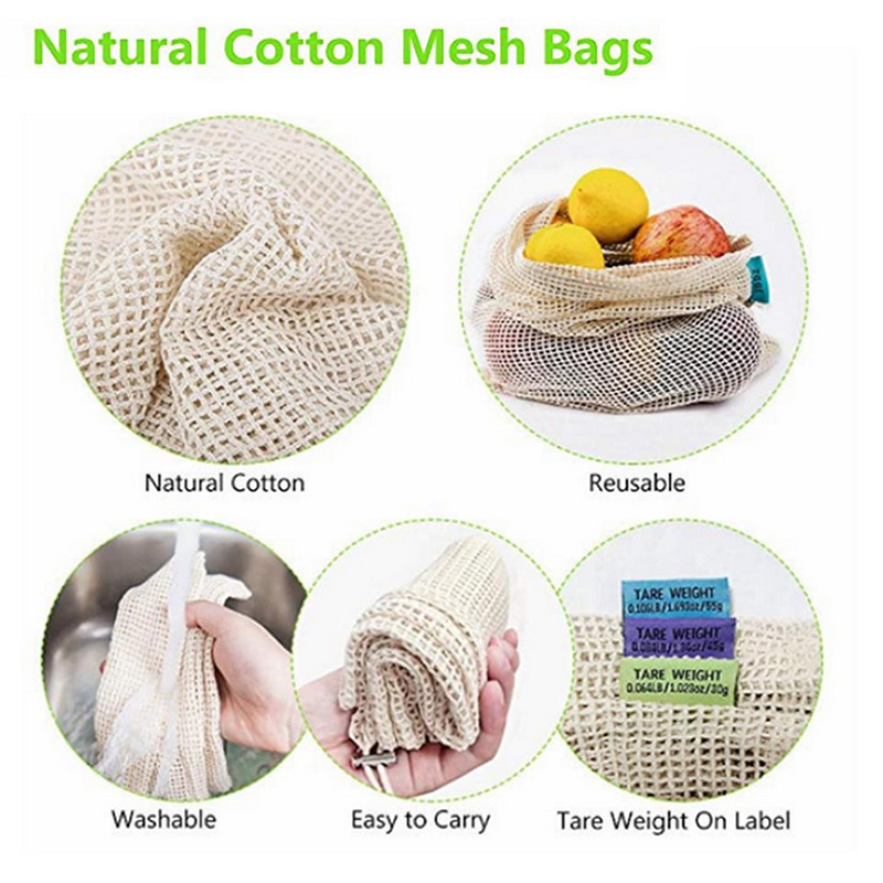 5PCs Reusable Cotton Frusack Vegetable Bags Eco friendly Washablec Fruits Mesh Storage Bag with Fast String Harness Pocket in Bags Baskets from Home Garden