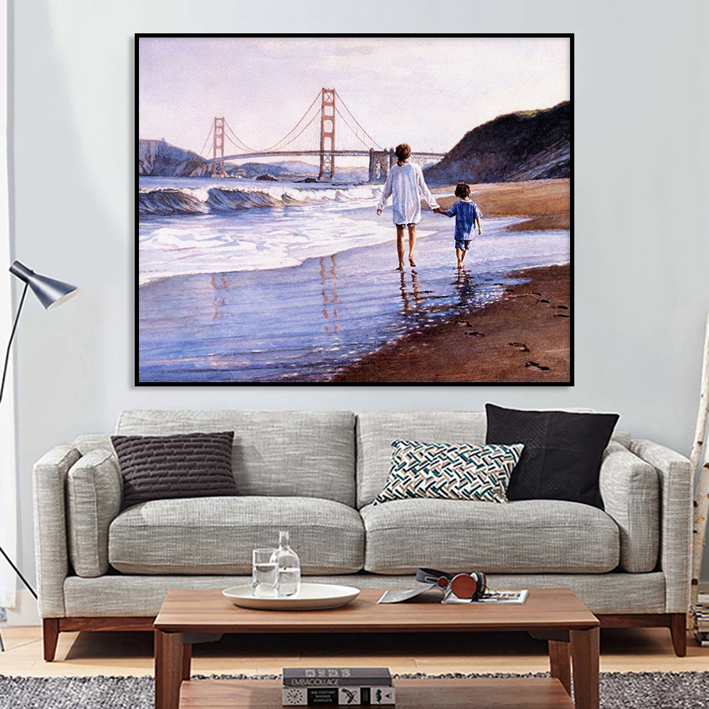 Canvas DIY Oil Painting By Numbers Coloring Kits Abstract Sea View Animal Dog Wall Art Decor Gift Hand Paint Picture Living Room thumbnail