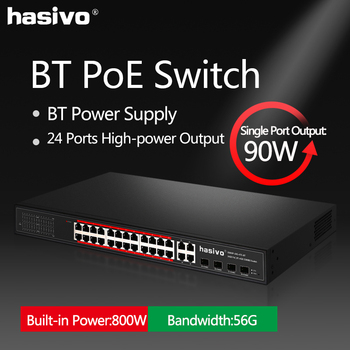 24x90W  Port Gigabit PoE Switch 802.3af/at PoE Ethernet switch With 4 SFP Combo Hi power Single port 90 watts  Network Switch 24 ports poe switch with 4 gigabit sfp combo 24 poe 4 sfp fiber ports gigbit poe ethernet network switch 1000mbps rackmount