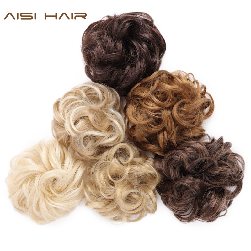 AISI HAIR Women Curly Chignon Synthetic Hair Scrunchies With Rubber Band 8 Colors Available High Temperature Fiber Hair