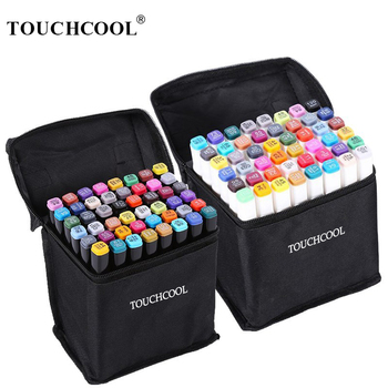 TOUCHCOOL Markers Pen Set 40/60/80/168 Color Animation Sketch Marker Dual Head Drawing Art Brush Pens Alcohol Based with 6 Gifts